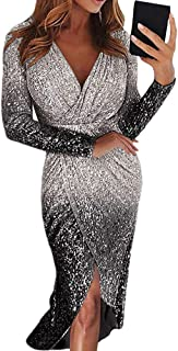Geagodelia Abito da Sera Aderente Donna Scollo a V Maniche Lunghe Pendenza con Paillettes Vestito Elegante Cerimonia