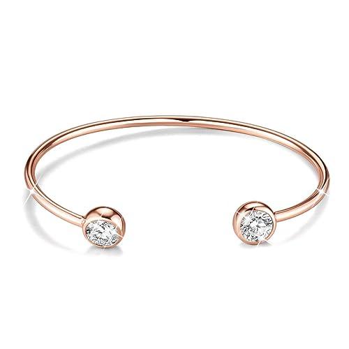 City Ouna/® Mode Titane INOX Bijoux Classique Or Rose plaqu/é Cuff Bracelet//Bracelet Cadeau pour Femmes Lady