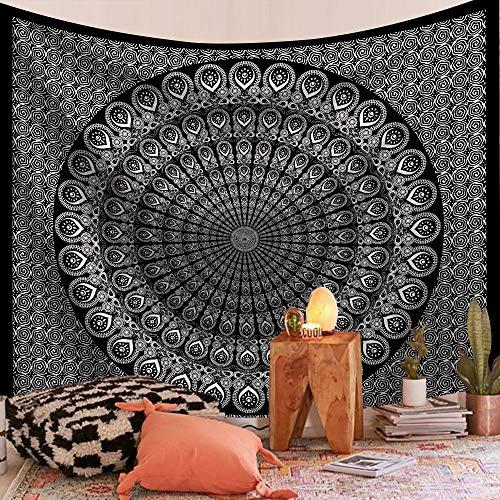 WERT Tapiz de Mandala Indio montado en la Pared, Alfombra de Playa, Manta, Alfombra de Dormir Bohemia, Tapiz de Fondo, Tela A13 130x150cm