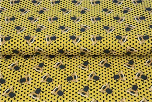 Stenzo – Jersey Stoff für Kinder mit Bienen und Pünktchen I Digital Druck Baumwolljersey Meterware I 150 x 50 cm I gelb, schwarz