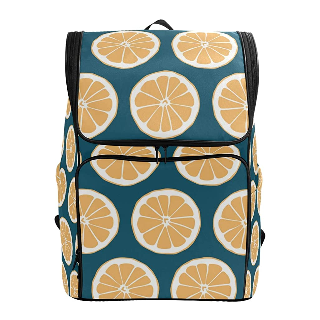 挨拶する視線チャネルマキク(MAKIKU) リュック 大容量 レディーズ リュックサック レモン柄 オレンジ 果物 軽量 メンズ 登山 通学 通勤 旅行 プレゼント対応