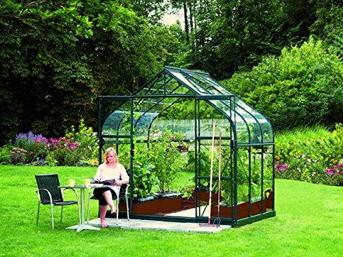 Gartenwelt Riegelsberger Gewächshaus Diana - Ausführung: 5000 ESG 3 mm dunkelgrün, Fläche: ca. 5 m², mit 1 Dachfenster, Sockel: 2,54 x 1,92 m