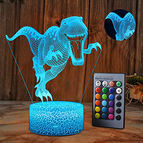 SZLTZK Dinosaur Boys Toys Gifts, 3D Illusion Lamp Gifts for Room Decor & Nursery, Cool T Rex Toys Birthday Gifts & 16 Colors Changing Toys for Boys or Kids Age 2 3 4 5 6+ Years Old Gifts