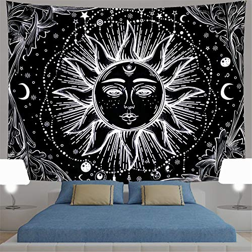 Sun Tapestry Psychedelic Burning Sun Wall Tapestry Black and White Tapestry Moon Sun with Star Tapestry Fractal Faces Bohemian Mandala Mystic Tapestry for Bedroom Living Room (Medium, Black Sun)