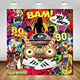 Avezano Hip Hop Party Backdrop Throwback I Love The 80S 90S Graffiti Wall Photo Booth Backdrops for Adults Birthday Party Decoration Disco Dj Rap Music Theme Parties Photoshoot Background (6x6ft)