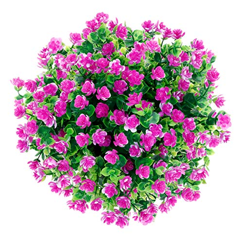 CQURE künstliche Blumen,Unechte Deko Blumen Künstliche Pflanze Grün UV-beständige Eukalyptus kunstblumen Outdoor Braut Hochzeitsblumenstrauß für Haus Garten Blumenschmuck 5 Stück (Lila Rot)