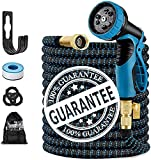 """3. 100FT Expandable Garden Hose, with 9 Function Nozzle, Leakproof Lightweight Retractable Water Hose with 3/4"""" Solid Brass Fittings, Extra Strength 3750D Durable Gardening Flexible Hose Pipe"""