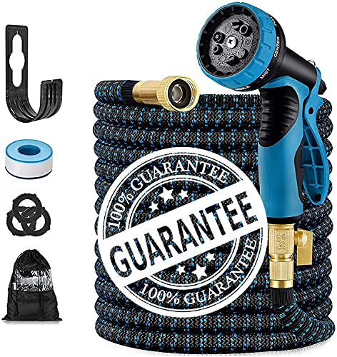 """100FT Expandable Garden Hose, with 9 Function Nozzle, Leakproof Lightweight Retractable Water Hose with 3/4"""" Solid Brass Fittings, Extra Strength 3750D Durable Gardening Flexible Hose Pipe"""