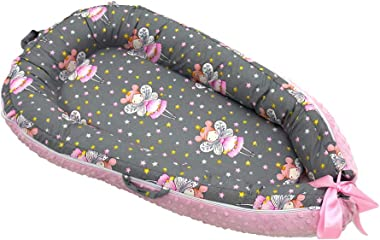 Baby Lounger & Nest Co Sleep Portable Newborn, Breathable Cotton Crib, Baby Girl Bed for Travel Snuggle Large Matching Blanket (Fairies)