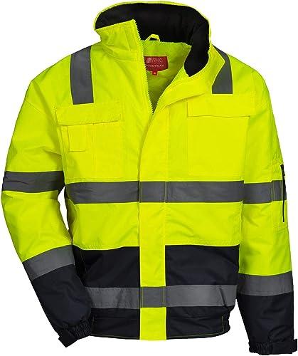NITRAS Motion TEX VIZ - Veste Pilote de Protection Imperméable - Blouson de Travail pour Femmes et Hommes avec Capuch...