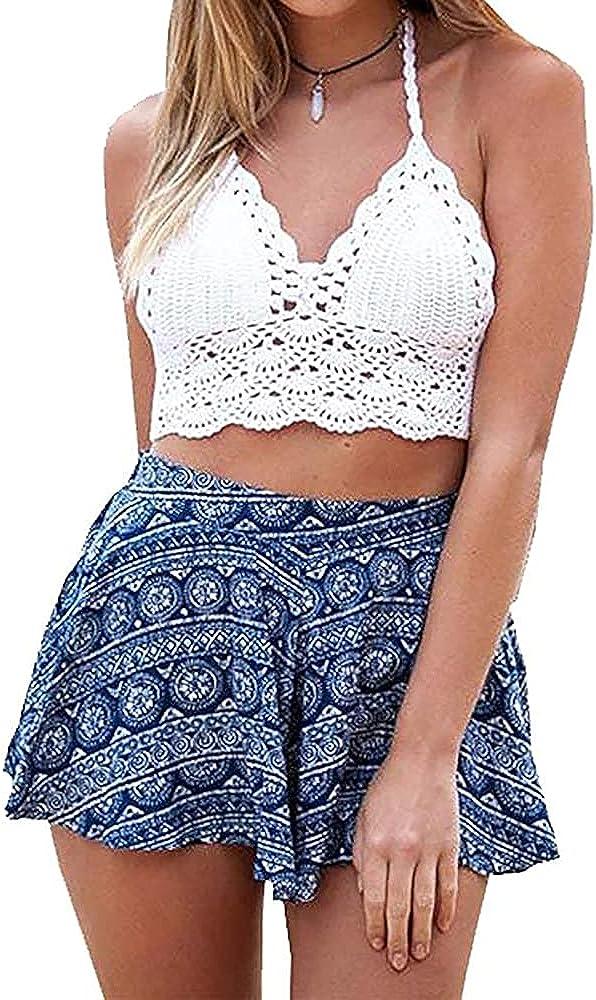 Summer Beach Crochet Crop Halter Tank Top Bralette Knit Bra Boho