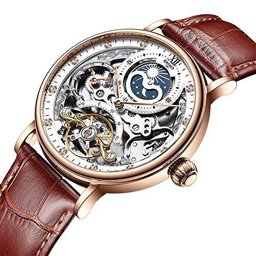 xiaoxioaguo Reloj mecánico automático para hombre Tourbillon deportivo, reloj casual de negocios y luna.