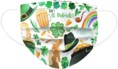10/20/30/50PC St. Patrick's Day Face_Mask for Kids, Darkduk Disposable_Face_Coverings with Four-Leaf and Gnomes Print Breatha