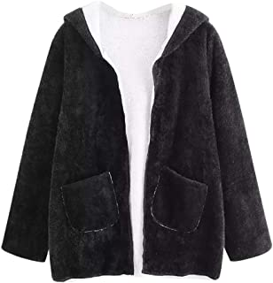 Sanyyanlsy Ladies Autumn Winter Casual Drop Shoulder Hooded Coat Tops Shaggy Plush Outwear Jacket with Pocket for Women