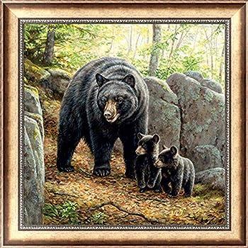 Bemaystar Diamond Painting Art for Adults Colorful Rainstone Dots Beads Kits Big Black Bear 11.8x11.8in