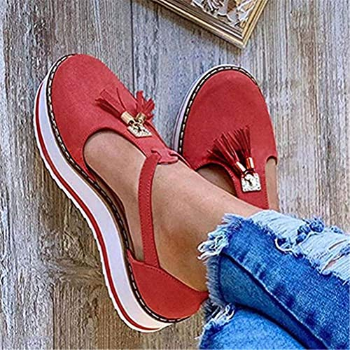 ONEYMM Sandals Womens Flatform Summer Thick Bottom Wedges Shoes Closed Toe Buckle Shoes Tassel Leather Sandal Ankle Strap Heeled Vintage Beach Espadrilles,Red,36