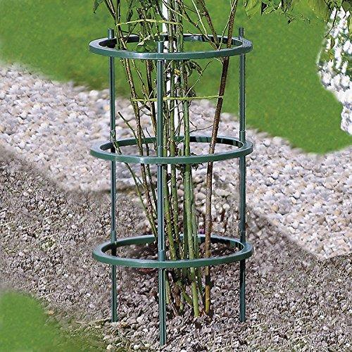 Pflanzenringe, 5 Stück, Staudenhalter, Pflanzenbinder, witterungsbeständig, erweiterbar, Kunststoff, Ø 27 cm, 15 Stäbe à 22 cm