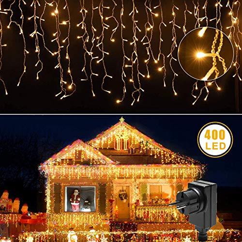 Tenda luminosa a LED, luce bianca calda, 400 LED, con telecomando, 8 modalità, IP65, impermeabile, per Natale, balcone, matrimonio (tenda luminosa a LED)