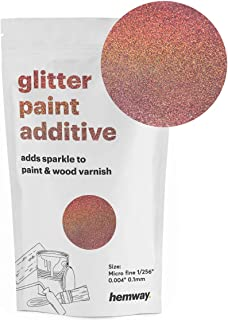 Hemway MICROFINE Glitter Paint Additive Emulsion Water Based Paints 100g (Rose Gold Holographic)