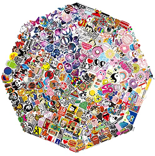 QWDDECO Stickers 360 PCS Kawaii Tendance Scrapbook Autocollants pour Ordinateur Portable, Bagages, Skateborad, Phone, Pad, De Voiture Autocollant Pour Adultes, Adolescents, Garçons, Filles Graffiti