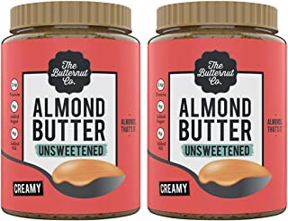 The Butternut Co. Almond Butter Unsweetened Creamy, 1 Kg (Pack of 2)