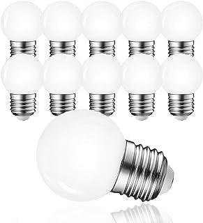 Bombillas LED G45 3 W E27, luz blanca cálida, 3000 K, 230 V, bombilla decorativa LED, bola de golf, para fiestas y jardín (luz blanca cálida), 10 unidades