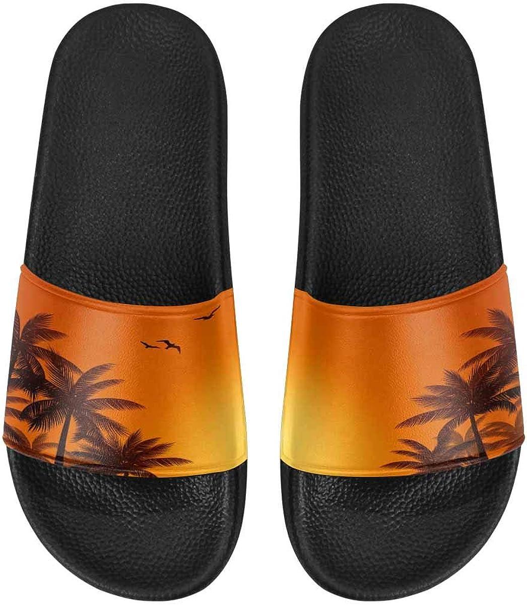 InterestPrint Women's Casual Slide Sandals for Indoor Outdoor Ornate Hamsa