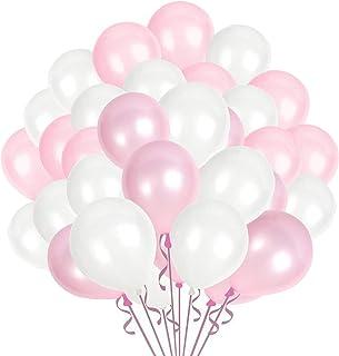 GRESAHOM Lot de 100 ballons roses et blancs en latex - 25,4 cm - Pour fête d'anniversaire, mariage, fête prénatale, obtent...