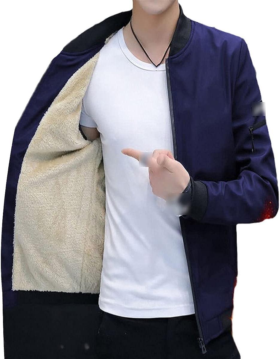 Men's Bomber Jacket Zipper Jacket Winter Fleece Warm Jacket Casual Streetwear Bomber Jacket