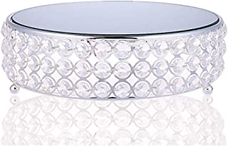 Round Metal Cake Stand Mirror Top Style with Crystal Rhinestones(round (s)
