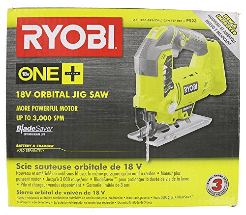 Product Image 6: Ryobi One+ P523 18V Lithium Ion Cordless Orbital T Shank 3,000 SPM Jigsaw (Battery Not Included, Power Tool and T Shank Wood Cutting Blade Only)