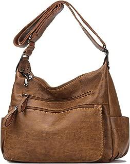 Women Crossbody Bag Soft PU Leather Purses and Handbags Multi Pocket Hobo Shoulder Bag