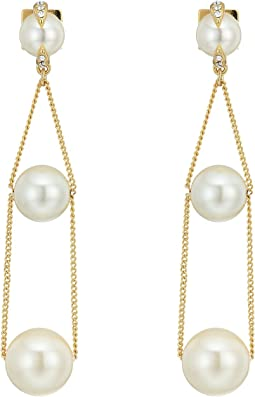 Vince Camuto Pearl and Chain Trapeze Earrings
