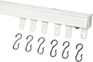 White Ceiling Mount Curtain Track System With Ball Bearing Carriers and Hooks (10'-(in 2 sections))