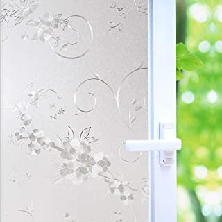 Frosted Privacy Window Film, No-Glue Stained Glass Window Decor/Privacy Protection/Heat Control/Anti UV, Iron Flower Stained Glass Static Cling for Home/Office, 35.5x118.2 inch