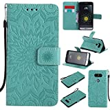 XYX Wallet Case for LG G5,[Sun Flower] Premium Flip PU Leather Magnetic Closure TPU Bumper Slim Fit Cover for LG G5 H820 LS992 H830, Green