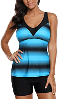 Eternatastic Womens Criss Cross Tankini Top with Boyshorts Two Piece Swimsuits for Women Ombre Color Blue