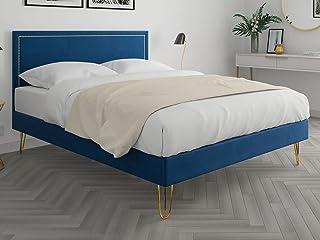 HOMIFAB Lit Adulte 140x190cm en Velours Bleu Nuit avec tête de lit à liseré et sommier à Lattes - Collection Lou