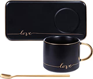 SOPRETY Couple Coffee Mug Set Espresso Ceramic Cup 130 Milliliter 4.3 Ounce with 1pcs Spoons and Saucer, Fit for Home, Office, Black