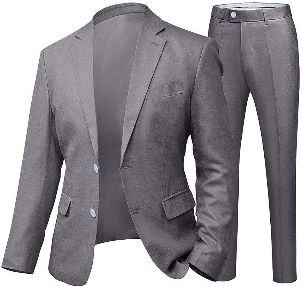 Wemaliyzd 2 Piece Mens Suit Slim Fit Wedding Linen Blazer Jacket Casual Pants