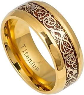 GiftsWithThought 9mm - Man Ladies - Titanium Yellow Gold IP Plating Celtic Dragon Knot Over Rosewood Inlay Wedding Band Ring
