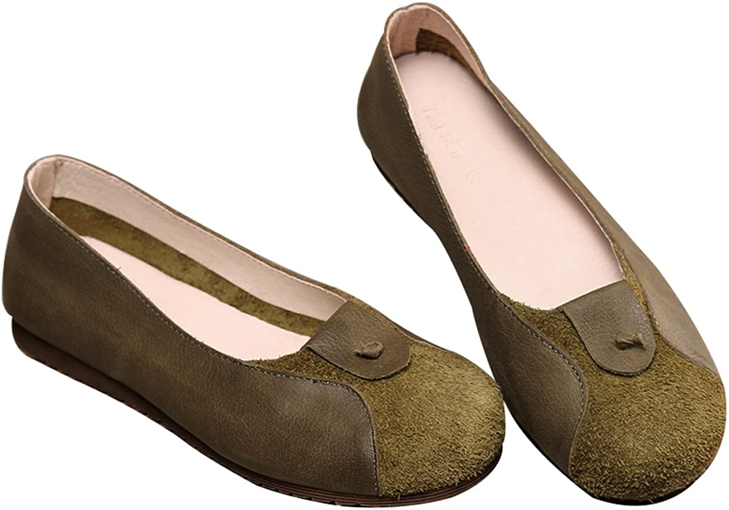 Zoulee Women's New Leather Handmade Flat shoes Bean shoes Ballet shoes