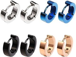 4paia di orecchini a cerchio, piccoli, da uomo e donna, acciaio inossidabile, ipoallergenici