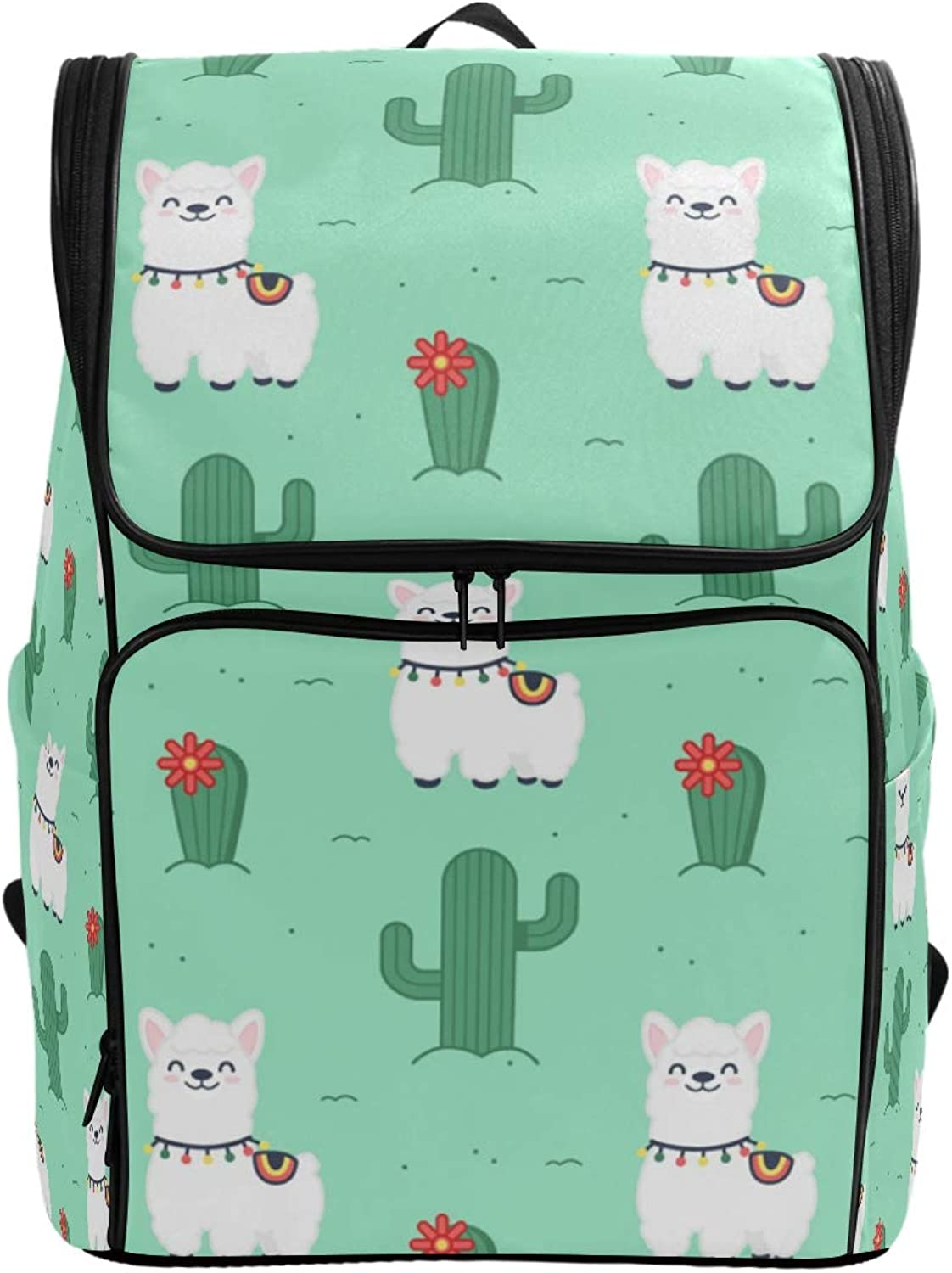 FANTAZIO Cute Smiling Alpaca Pattern Laptop Outdoor Backpack Travel Hiking Camping Rucksack Pack, Casual Large College School Daypack