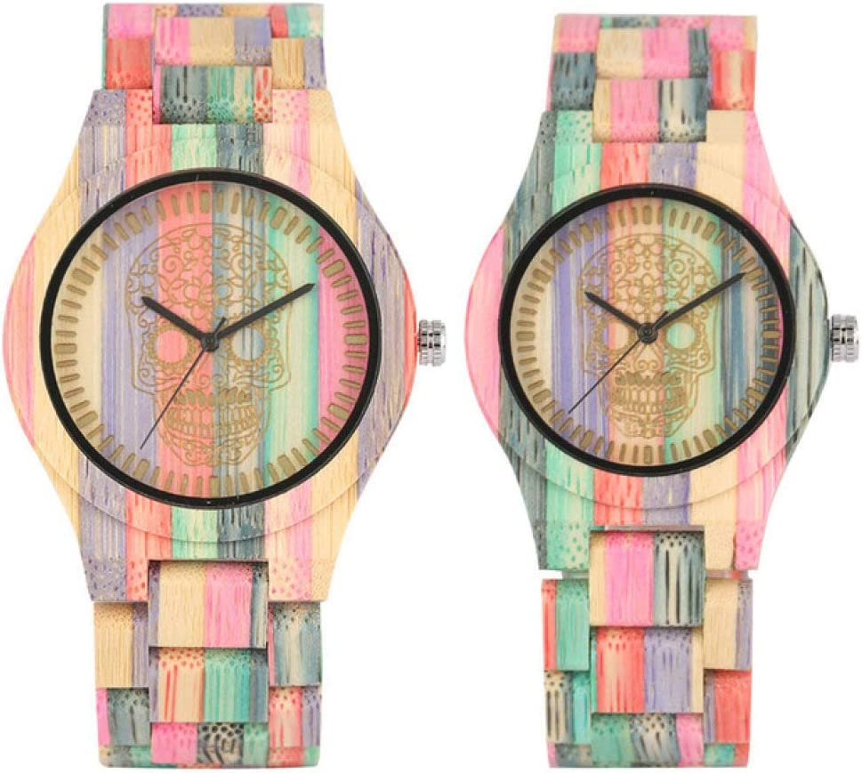 Colorful Bamboo Wood Couple Natural Bangle Quartz Award-winning store Watches online shop
