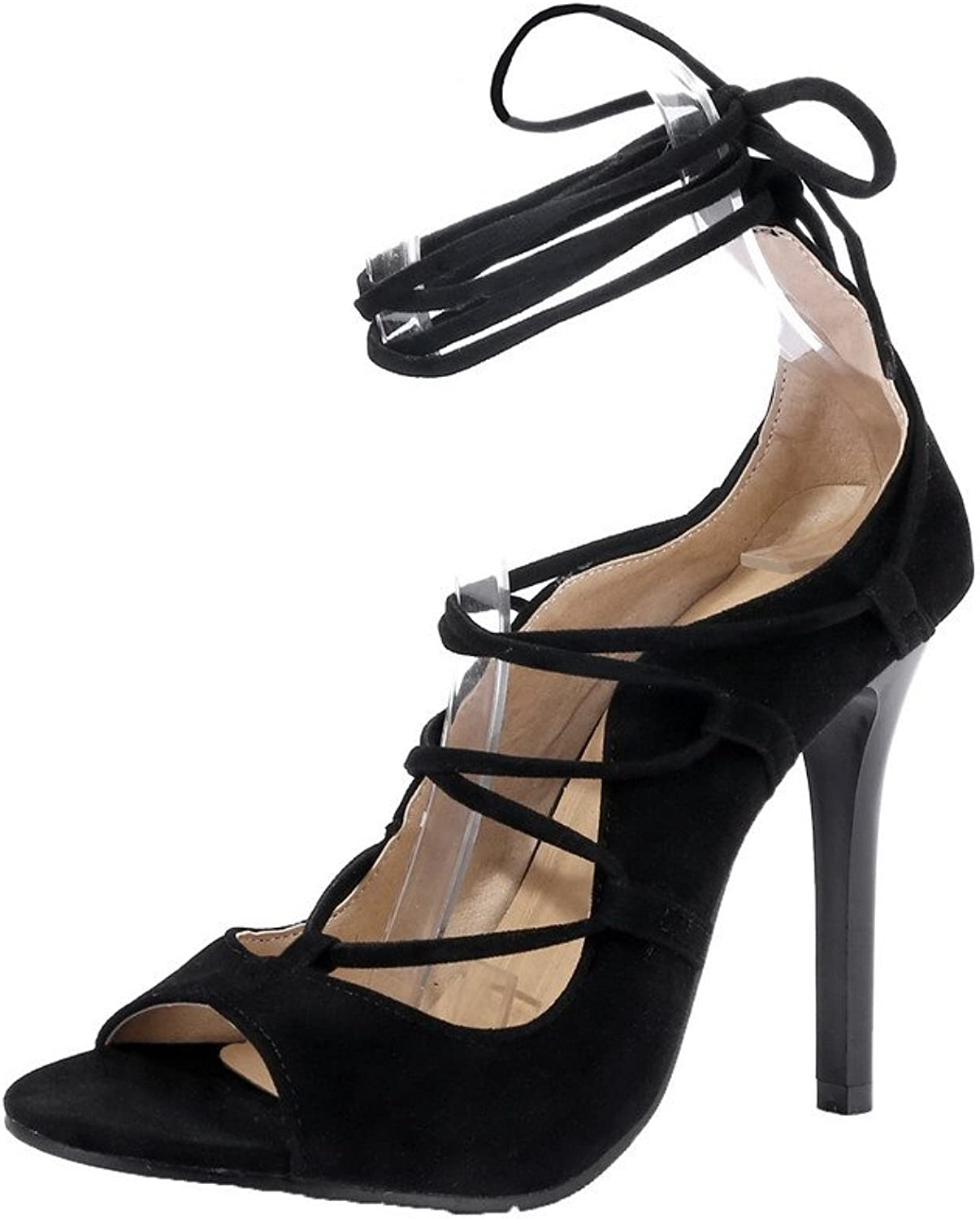AllhqFashion Women's Lace-up High-Heels Frosted Solid Open-Toe Sandals