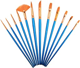 Paintbrush Sets Nylon Hair SAYEEC 12 Pcs Artist Professional Watercolour Paint Brushes Fine Deatil Paint Brush Round Flat ...