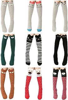 fygood–Lote de 9pares pantimedias calcetines altas niño Niña Multicolors longitud: 40cm/1–10años