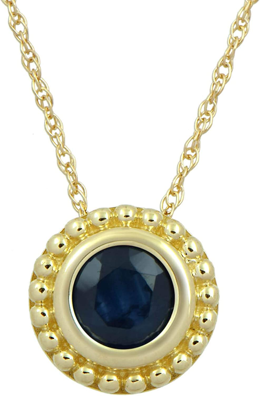 Jewelili 10K Yellow Gold 5 millimeter Blue Sapphire Pendant Necklace, 18 Inches Rope Chain