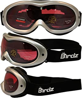 Birdz Eyewear Talon Ski Goggles with Silver Frame Rose Mirror Anti-fog and Scratch Resistant Comfortable Foam Padding on the Inside of Goggles and Adjustable Strap Guarantee a Comfortable Tight Fit